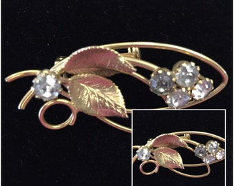 Vintage Goldtone Brooch with Rhinestones