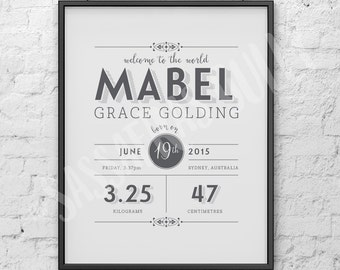 Personalised Nursery Wall Print