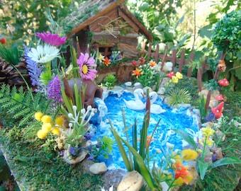 Big Fairy House, Fairy swan pond,fairy pond,Duck pond,wedding decoration,fairy house kit,fairy decor,swan,fairy garden kit,koi pond