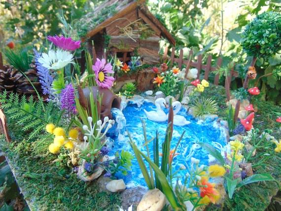 Items similar to big fairy house fairy swan pond fairy for Pond decoration ideas