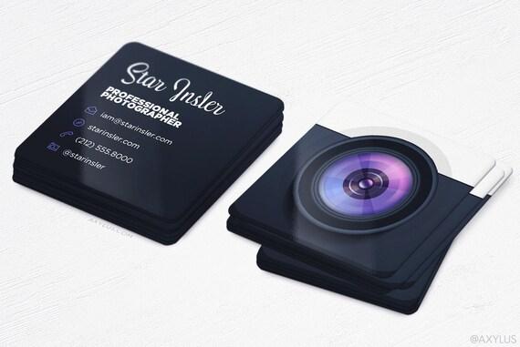Mini grapher Business Cards Realistic Camera Square