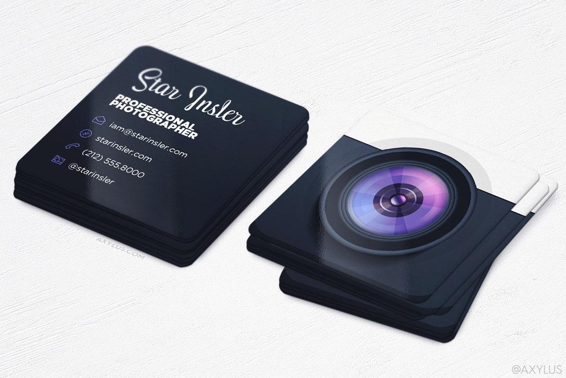 Mini Photographer Business Cards Realistic Camera Square