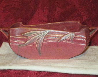 Roseville Pottery Vintage Console Bowl Roseville Velmoss Red 155