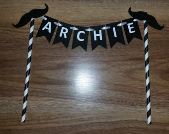 """Mustache """"NAME"""" Cake Bunting"""