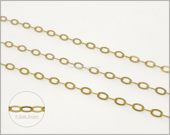 8 ft.+ Soldered Flat Oval Cable Chain, Cross Chain - Gold Plating
