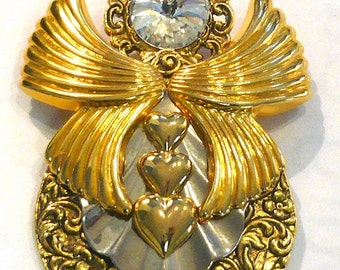 Vintage Angel Rosemary Nelson Gold Tone Brooch 1995