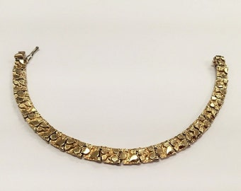"14k Yellow Gold Nugget Bracelet 6.5"""
