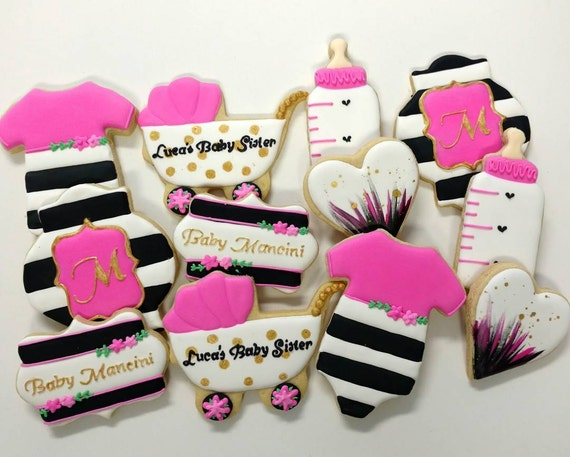 items similar to kate spade themed baby girl cookies baby boy cookies