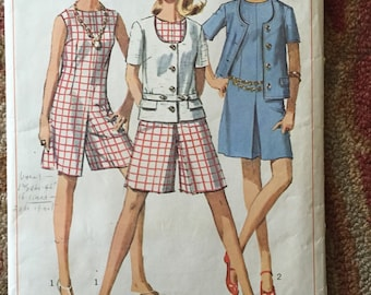 Vintage 60s Simplicity 7159 Culotte Dress & Jacket Pattern - 1960s Skort Scooter Dress- 60s Mini Dress Size 16 Bust 36