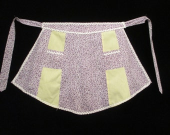 Vintage Half Apron Purple Flower Print with Yellow Insets