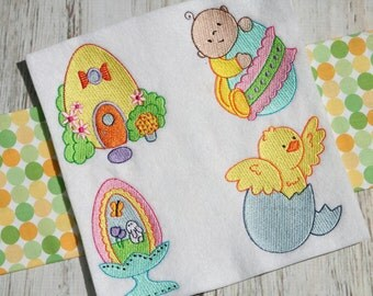 The Egg 14 Different Filled Stitch Machine Embroidery Designs 4x4 5x7