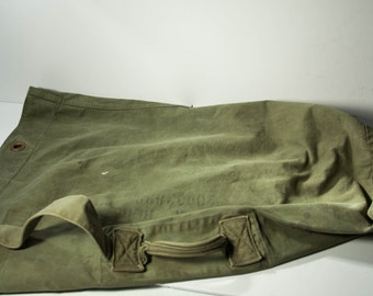 Vintage US Military Duffle Bag Large Army Green Black Backpack Canvas Militaria Free Shipping
