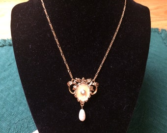 Vintage Goldtone Chain Necklace with Faux Pearl Pendant, 16'' Long