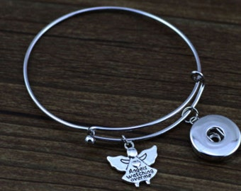 Inspired Angels Watching Over Me Bangle Bracelet Silver Tone