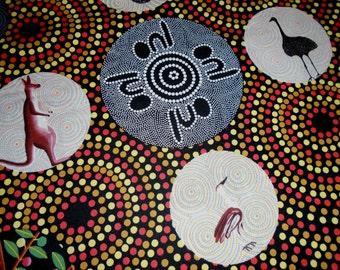 Australian Aborigianl Dreamtime Fabric, by the half yard