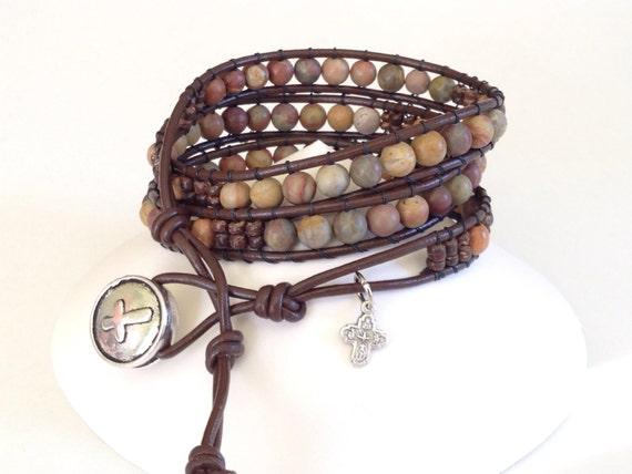 Men S Leather Rosary Wrap Bracelet In Jasper And Olive