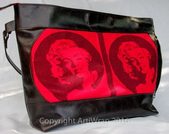 Marilyn Mama Bag from sturdy leather and with LennyLamb baby wrap