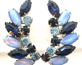 Deep Sapphire Blue Vintage Rhinestone Clip Earrings