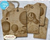 75% OFF SALE Balloon Steampunk Tags - Digital Collage Sheet Digital Tags T003 Printable Download Image Tags Digital Image Vintage Steampunk