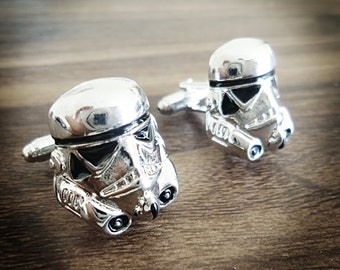 Star Wars Storm Trooper cufflinks men's silver plated 3D cufflinks The Force Awakens
