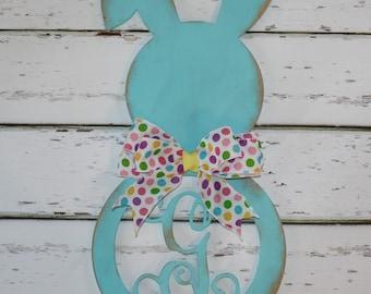 Custom Easter Bunny Initial Door Hanging-Easter Decor, Easter Gift, Easter Wall Decor, Holiday Decor, Bunny Decor, Spring Decor