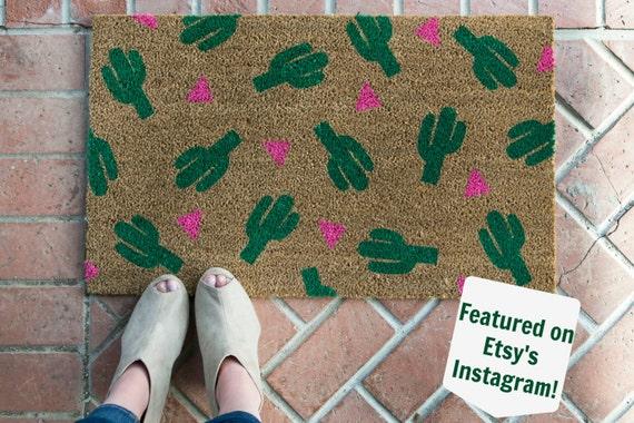 Cactus doormat /Hand painted, Custom welcome mat/ Wedding Gifts / Housewarming Gifts / Funny Doormat / Outdoor Welcome Mat