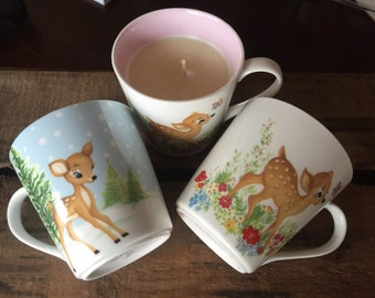 Pink Bambi Soy Tea Cup Candle