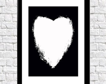 Heart Wall Art Print 3 Different Backgrounds White Heart, Marble Heart, Black Heart