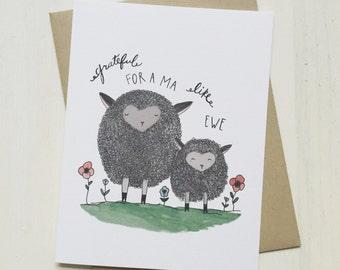 A Ma Like Ewe - mothers day card, gift for mom, funny mothers day, card for mom, card from kids, pun card, handmade card, watercolor card