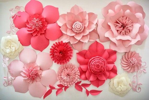 Paper flower backdrop wedding centerpiece giant