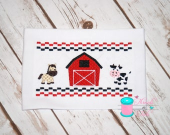 Farm Shirt, Barn Shirt, Faux Smocked Farm Shirt, Farm Animal Shirt