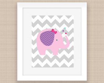 Elephant Nursery Wall Art,Elephant Nursery Decor,Purple Pink Elephant,Elepha Chevron pink,Elephant Shower-PRINTABLE- 8x10 INSTANT DOWNLOAD