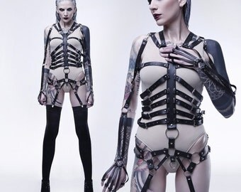 Black Women Leather Harness Skeleton