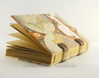 Notebook for man, gift Valentine, leaves kraft paper quality, Coptic binding, for him, notebook