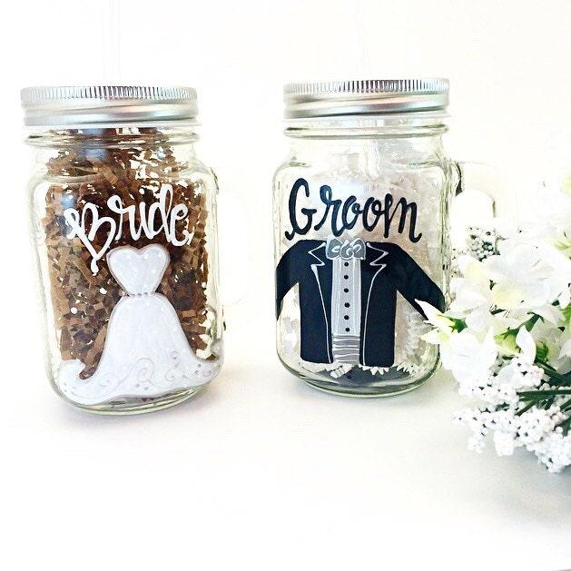 Bride And Groom Glass Painted Mason Jar Mug Set Wedding