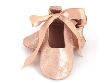 Rose gold baby ballet flats, gold ballet flats, flower girl shoes, baby shower gift, birthday shoes, baby girl leather shoes