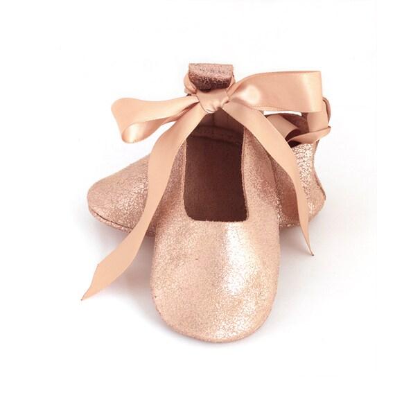 Rose gold baby ballet flats gold ballet flats flower girl