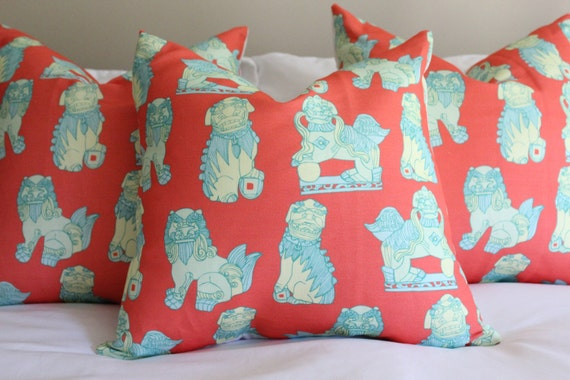cotton & quill foo dogs pillow cover, asian inspired, chinoiserie fabric, foo dog pillow covers, navy pillow covers, coral pillows