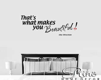 One Direction Wall Quotes Thatu0027s What Makes You Beautiful Wall Decal Vinyl Decal  Sticker Part 37