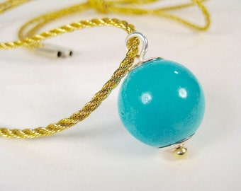 Natural Arizona Turquoise Sphere on Gold Cord, Handmade Pendant by Elizabeth Prior