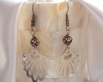 Bohemian Fan Shell Dangles- Tribal Fan Shell Earrings- Exotic White Shell Dangles- Sterling Silver Shell Earrings- Boho  Dangles in Sterling