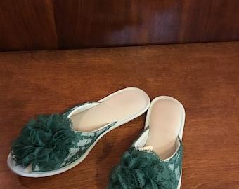 Vintage Vanity Fair Green Lace Chiffon Pom Pom Slippers Houseshoes