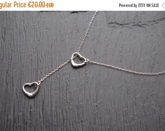 SALE Heart Necklace Lariat Double Heart  Small Heart Jewelry Love Necklace Bridesmaid Necklace  Mother Day Gift Christmas Gift for her