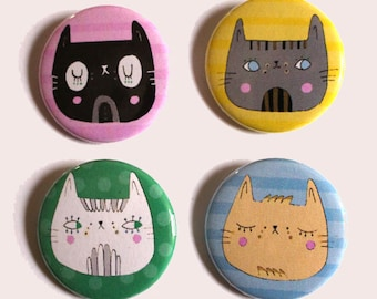 "Cat magnet set - ""plump puss"" - cute gift idea"