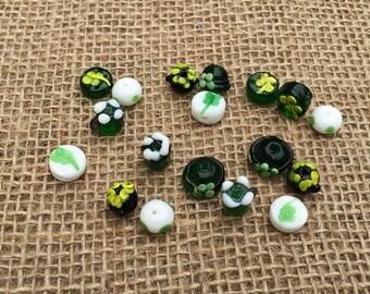6 | St. Patrick's Day Lampwork Glass Beads | Leprechaun Hat | Green Beer | Shamrock Beads | Pot of Gold | Irish Jewelry | 6-10mm