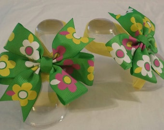 Pink and Green Butterfly Bow Baby Barefoot Sandals