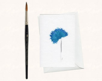 Hand painted greeting card - watercolor - original card - unique card - greeting cards - flower - blue