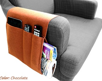 Felt  Sofa Organizer, Pocketed Armrest Organizer, Newspaper Magazine Remote Control Holder in Chocolate Color (Express Shipping)