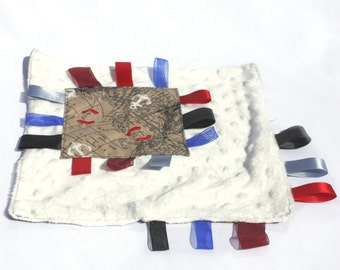 Taggie Blanket – Baby Comforter – Ribbon Blanket – Nautical Print Fabric – Lovie Lovey – Minky Dot Plush Fabric – Childs Taggy – Sensory Toy