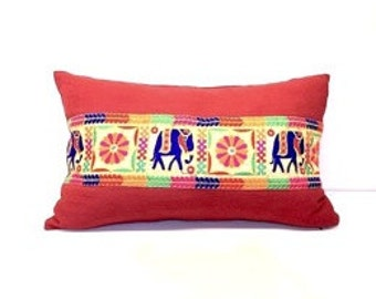 Red pillow cover,  Linen and Embroidered Pillow Covers, indian pillow cover, Decorative pillow
